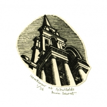 Anne Desmet. Hawksmoor at Spitalfields. Wood engraving & collage.