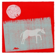 Sandy Sykes.Moving On.Wood and Lino cut.