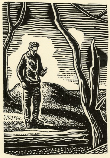 The Text Message (Study) - Linocut