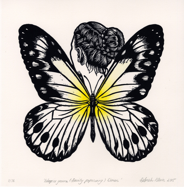 Ideopsis gaura (Dainty paperwing) Woman - Hand coloured linocut